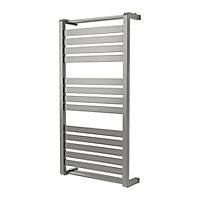 GoodHome Loreto 546W Grey Towel warmer (H)1000mm (W)500mm