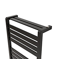 GoodHome Loreto 679W Electric Anthracite Towel warmer (H)1300mm (W)500mm