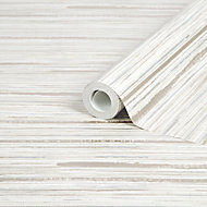 GoodHome Lucidum Cream Striped Metallic effect Smooth Wallpaper