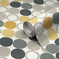 GoodHome Lymani Yellow Dot Textured Wallpaper