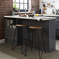 GoodHome Maloux Black Oak Bar stool