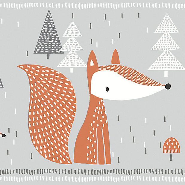Goodhome Meyeri Multicolour Cartoon Foxes Smooth Border Diy At B Q