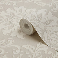 GoodHome Mire Beige Damask Woven effect Textured Wallpaper