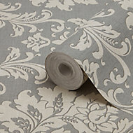 GoodHome Mire Grey Damask Woven effect Textured Wallpaper