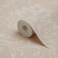 GoodHome Mire Peach Damask Woven effect Textured Wallpaper
