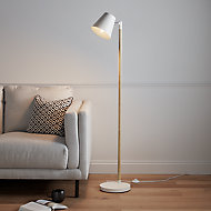 GoodHome Mulanje Matt White Wood effect Floor light