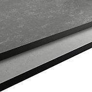 GoodHome Nepeta Matt Grey Stone effect Paper & resin Upstand (L)3000mm