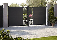 GoodHome Neva Aluminium Leaf Gate, (H)1.7m (W)3m