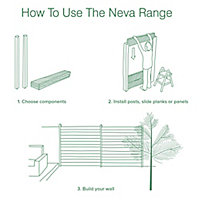 GoodHome Neva Aluminium Slotted Fence post (H)2.4m (W)70mm