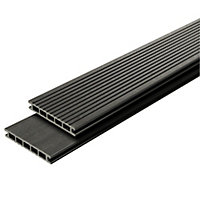 GoodHome Neva Anthracite grey Composite Deck board (L)2.2m (W)145mm (T)21mm