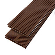 GoodHome Neva Brown Composite Deck board (L)2.2m (W)145mm (T)21mm, Pack of 6