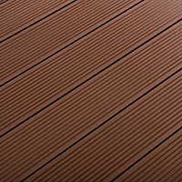 GoodHome Neva Chocolate Composite Deck board (L)2.2m (W)145mm (T)21mm, Pack of 6
