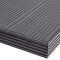 GoodHome Neva Solid Composite Finishing profile Anthracite (L)2200mm, Pack of 2
