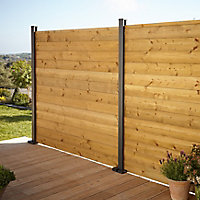 GoodHome Neva Steel Slotted Fence post (H)1.83m (W)70mm