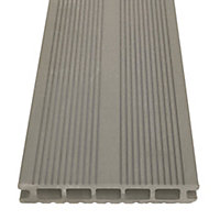 GoodHome Neva Taupe grey Composite Deck board (L)2.2m (W)145mm (T)21mm, Pack of 6