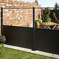 GoodHome Neva Transparent 1/2 Fence panel (W)1.79m (H)0.88m
