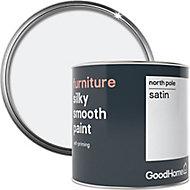 GoodHome North pole (Brilliant white) Satin Furniture paint, 500ml