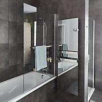 GoodHome Nubia Clear 1 Panel Bath screen, (W)950mm