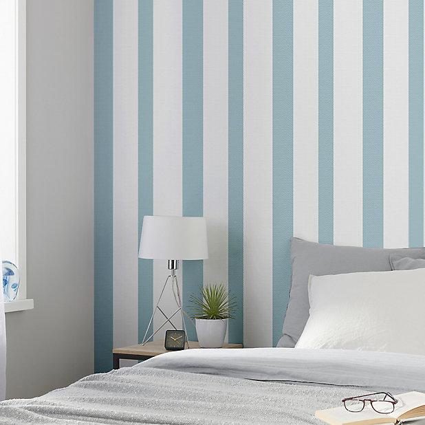 GoodHome Nypa Blue & white Striped