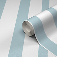 GoodHome Nypa Blue & white Striped Fabric effect Textured Wallpaper