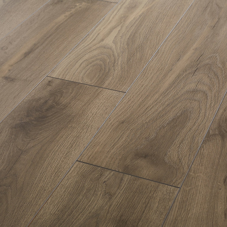 Goodhome Oldbury Grey Oak Effect, Real Wood Effect Laminate Flooring
