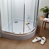 GoodHome Onega Quadrant Clear Shower Enclosure & tray with Corner entry double sliding door (W)900mm (D)900mm