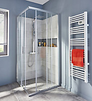 GoodHome Onega Square Clear Shower Enclosure & tray with Corner entry double sliding door (W)900mm (D)900mm