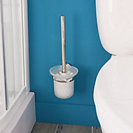 GoodHome Ormara Silver effect Toilet brush & holder