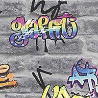 GoodHome Orobe Grey Graffiti brick Smooth Wallpaper