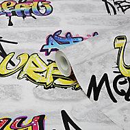 GoodHome Orobe White Graffiti brick Smooth Wallpaper