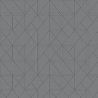 GoodHome Patula Dark grey Geometric Ridged effect Textured Wallpaper