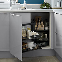 GoodHome Pebre Matt Anthracite Soft-close LH Pull out storage, (H)639mm (W)855mm