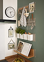GoodHome Pecel Grey Magnetic Bamboo & magnetic rubber Shelving