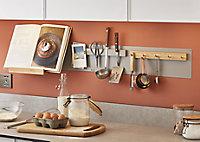 GoodHome Pecel Grey & Rubber & wood Hook rail, (L)330mm (H)35mm