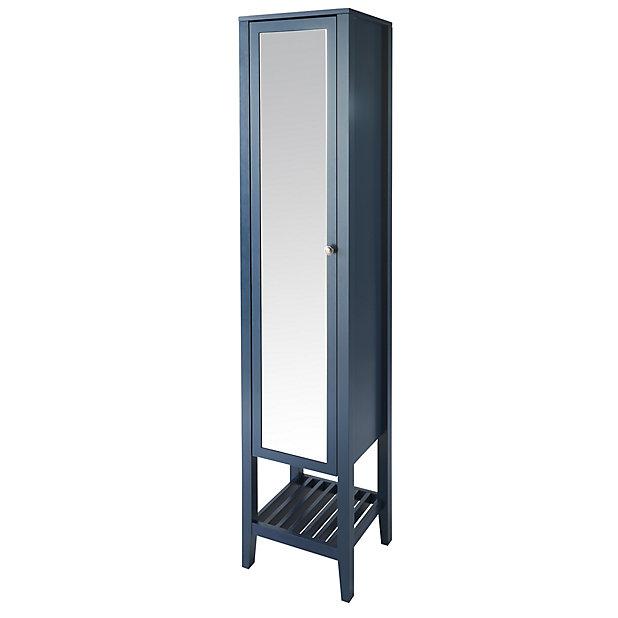 Goodhome Perma Satin Blue Tall Freestanding Mirrored Door Bathroom Cabinet W 402mm H 1850mm Diy At B Q