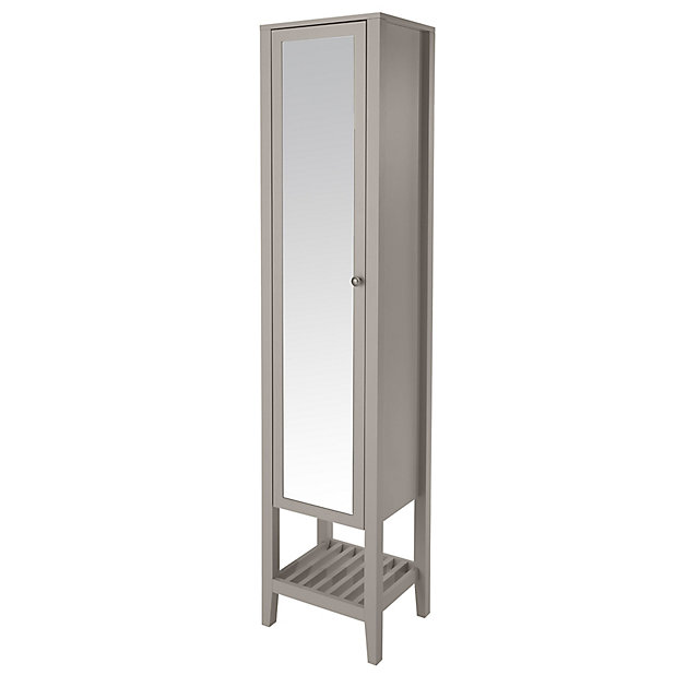 Goodhome Perma Satin Grey Tall, Mirrored Free Standing Bathroom Cabinet