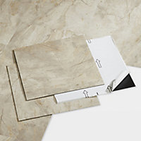 GoodHome Poprock Beige Tile Marble effect Self adhesive Vinyl tile, Pack of 14