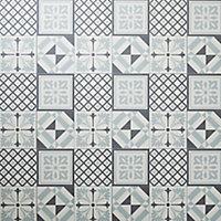 GoodHome Poprock Black & white Mosaic Mosaic effect Self adhesive Vinyl tile, Pack of 14