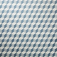 GoodHome Poprock Blue Geometric Mosaic effect Self adhesive Vinyl tile, Pack of 14