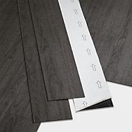 GoodHome Poprock Dark grey Wood planks Wood effect Self adhesive Vinyl plank, Pack of 7