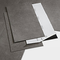GoodHome Poprock Grey Tile Stone effect Self adhesive Vinyl tile, Pack of 7