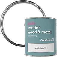 GoodHome Pure brilliant white Satin Metal & wood paint, 2.5L