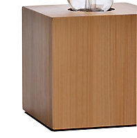 GoodHome Qausuit Bamboo effect Square Table light