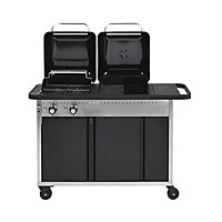 GoodHome Rockwell Black Charcoal & gas Hybrid barbecue