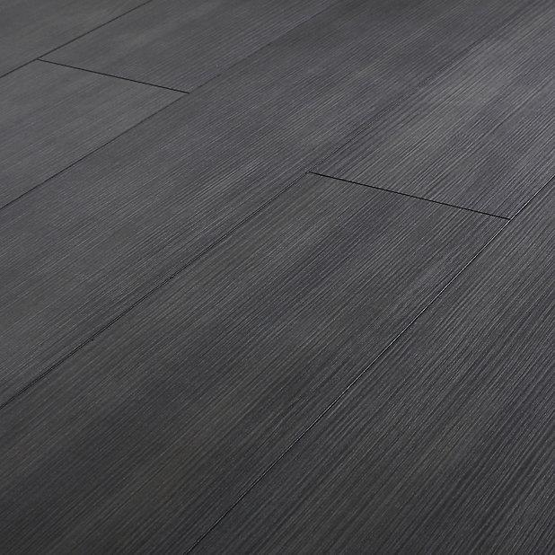 Goodhome Romford Black Dark Oak Effect, Dark Grey Laminate Flooring