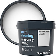 GoodHome Self-cleaning Pure brilliant white Smooth Matt Masonry paint, 10L