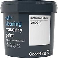 GoodHome Self-cleaning Pure brilliant white Smooth Matt Masonry paint, 5L