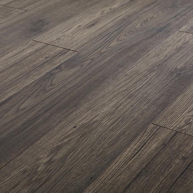 Goodhome Shildon Black Dark Oak Effect, Black Wood Laminate Flooring