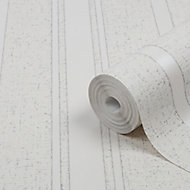 GoodHome Solfia White Striped Glitter effect Textured Wallpaper