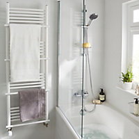 GoodHome Solna 631W White Towel warmer (H)1500mm (W)500mm